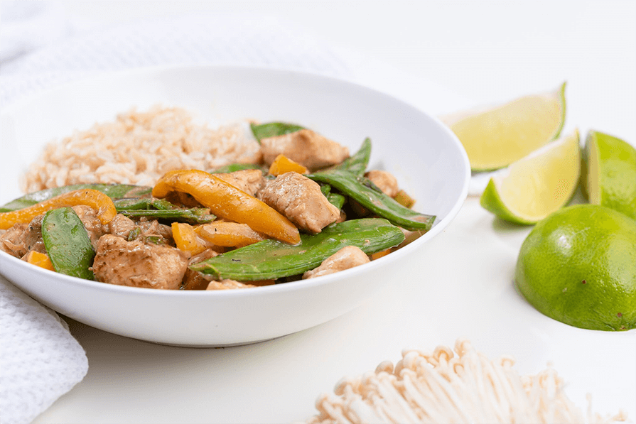 Green Chicken Curry with Brown Rice
