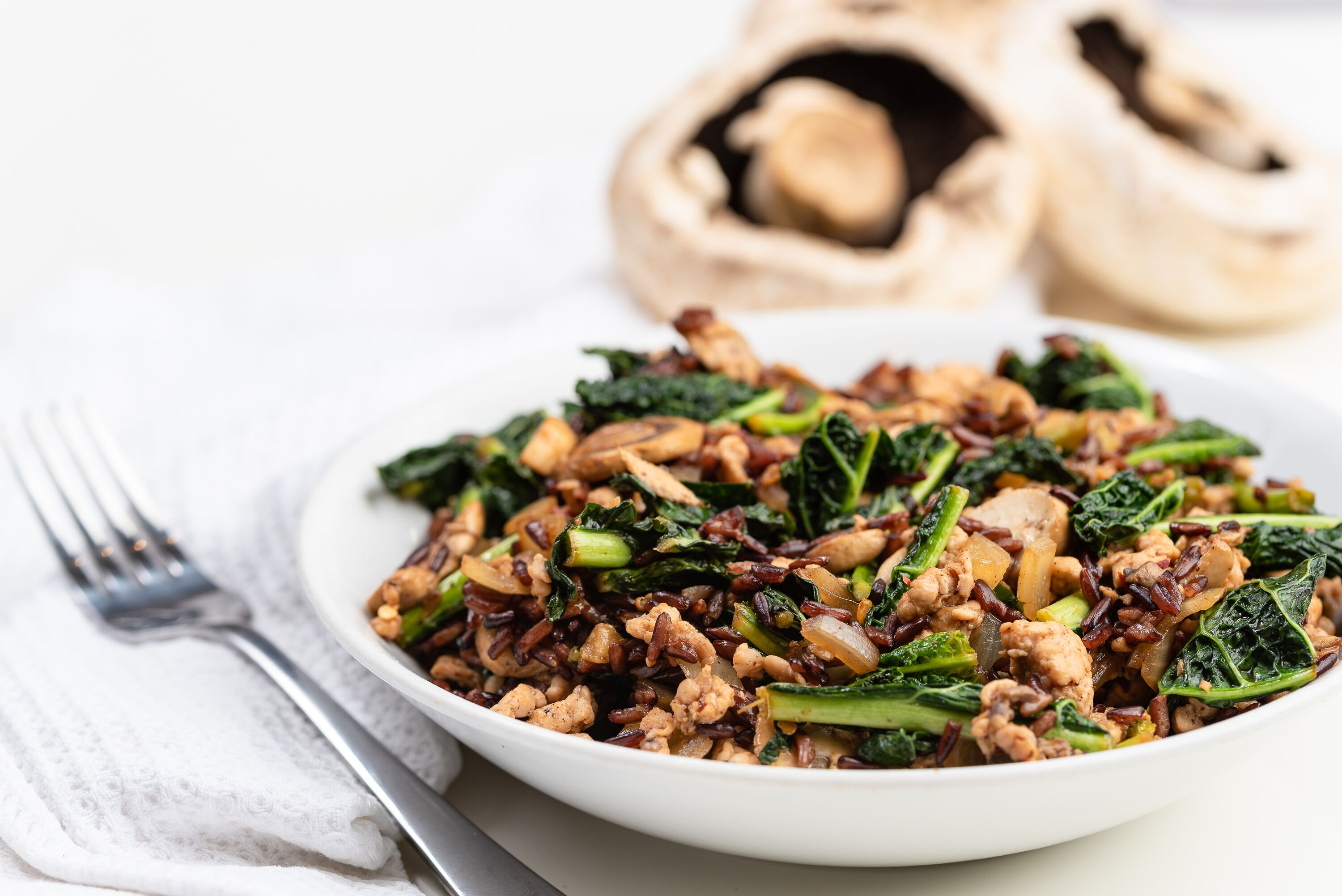 Turkey, Black Rice and Kale Stir Fry