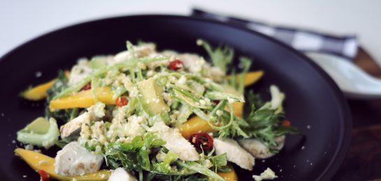 Coconut Chicken, Mango, Avocado and Freekeh Salad