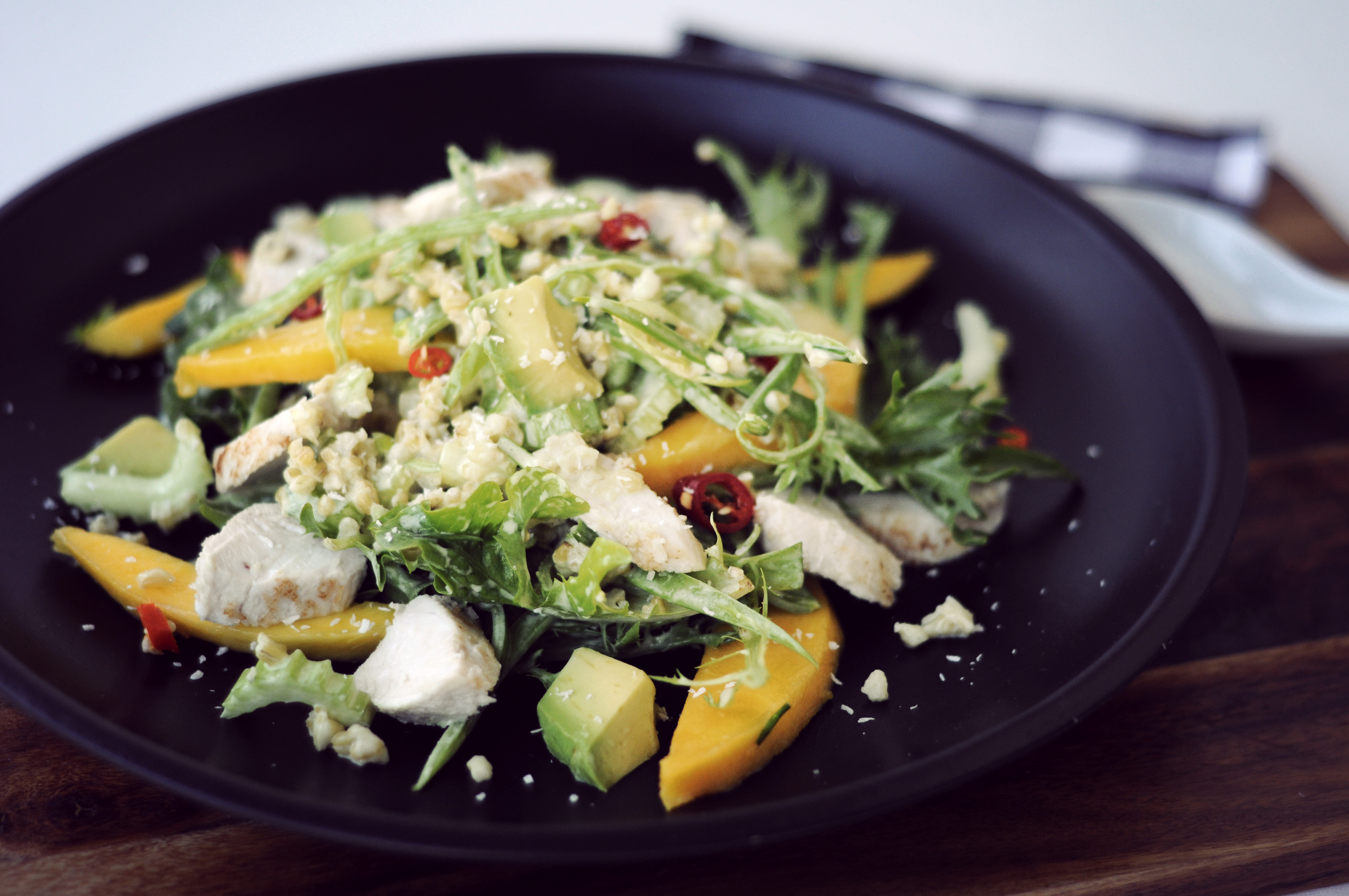 Coconut Chicken, Mango, Avocado and Freekeh Salad